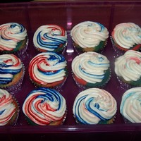 "Independence Day Treats For Work Cupcakes going to my job in the morning as a nice treat for folks. Recipe is ""Yellow Cupcakes"" from the Better Homes and Gardens..."