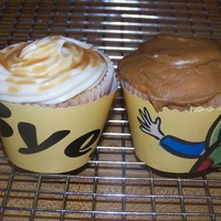Coworker's Going Away Cupcakes Some cupcakes I made for a coworkers last day of work back in Nov. Caramel Cupcakes with a)Dulce de Leche Frosting and b) Caramel Forsting...