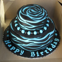 Turquoise Zebra Print Chocolate fudge cake with fudge cream filling covered in bitter sweet chocolate butter cream/ fondant