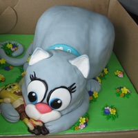 Cat And Sponge Bob My boss asked me to make a cake for her daughter and son in law for their anniversary. Her daughter has a grey cat with a very long tail...