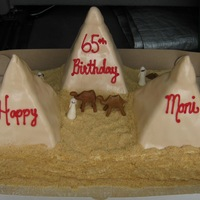 Egyptian Pyramids Chocolate sheet cake with vanilla pyramids