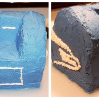 "Mailbox Cake This is a 3D cake version of a ""blue box"" or collection box that I made for my local post office for ""Thank a Mailman Day&..."