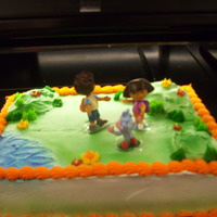 Dora/diego   Cake with a Dora and Diego topper