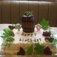 Wine /grape Cake wine barrel with grapes and leaves. wine bottle with grape topped cupcakes