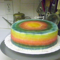 Rainbow Cake   First air brush cake with my new air brush.