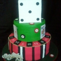 Casino! 3 tier resembling dice, poker table and roulette wheel. Topped with diamante '30' topper