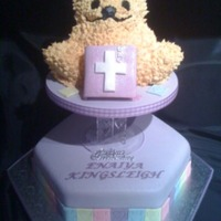3D Bear This was my daughter's christening cake. 3D bear in chocolate fudge cake decorated with buttercream placed on top of a Caribbean Rich...