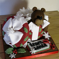 Teddy In A Box Christmas Cake Cake inspired by the amazing Andrea Sweetcakes