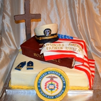 Anchors Aweigh Going away / bon voyage cake for a priest joining the Navy Chaplain Corps.