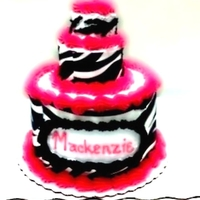 Hot Pink Zebra 3 Tiered Cake 3 tiered baby's first birthday cake. The zebra print is an edible image on the first 2 tiers and the top tiers stripes are hand piped...