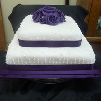 Purple Roses square fondant covered with royal icing details and purple fondant/gumpaste roses