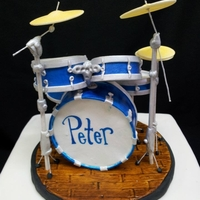 Drum Cake Drum cake. marble cake with chocolate ganache. Since I wanted the topper to be a keepsake, Drum kit is all fondant, and gumpaste with the...