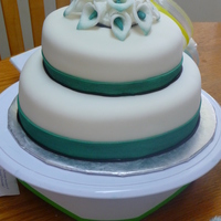 Teal Cala Lilies  3 tier cake. fondant covered with fondant cala lilies. though we'd do the centre of the flowers teal to match colors. like the way it...