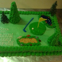 Golf Course Scene Cake Red velvet with cream cheese frosting. I made this cake for our family's annual golf tournament.