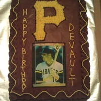 "Pittsburgh Pirates Cake Yellow cake with choclolate frosting. Edible image of Andy Van Slyke and Pirates ""P"" logo."