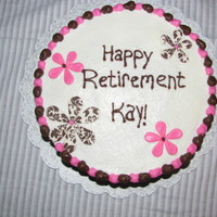 Pink And Brown Damask Retirement Cake I made this for a teacher I worked with who is retiring. Red velvet cake with cream cheese buttercream frosting.