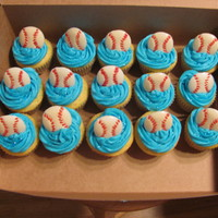 Softball Cupcakes I made these cupcakes for a softball team. Yellow cake and buttercream frosting.