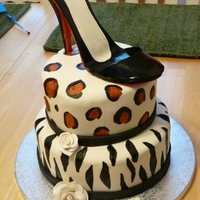 Leopard, Zebra Print Cake With Leather Patent Shoe