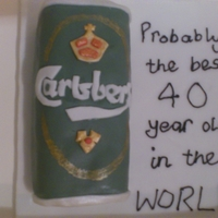 Probably The Best 40 Year Old In The World Carlsberg Cake, carrot cake covered and decorated with fondant