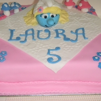 Smurfette Birthday Cake Coloured the Vanilla cake blue, and filled with vanilla frosting so when the cake was cut it was a surprise for the birthday girl....smurf...