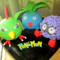 Pokemon 3D Cakes Natu, Oddish, and Tangela