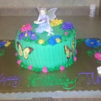 Garden Fairy   Dbl layer round with choc chip cookie dough filling. Covered in buttecream with all buttercream decorations.