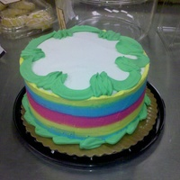 "Tri Color Cake 8"" round.tri color cake, buttercream iced in spring colors."