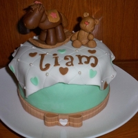 Small Baby Shower Cake Seafoam green and brown themed