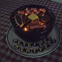 "Bbq Cake barbeque cake for my husbands party- the ""fire"" is flameless candles!"