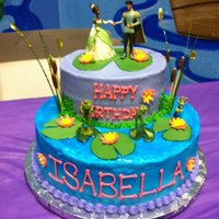 Princess And The Frog B-Day Cake Lily pads and flowers made out of fondant.