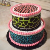 Animal Print Cake the animal print wafer paper was bought at Michaels, part of the Duff line.