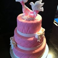 Baptism Tiered Cake All fondant, including doves, flowers, bows and banner