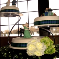 Custom Wedding Seperate 3 Tier Cake Custom figurines of bride and groom, 3 different scenes in their lives on each separate tier.