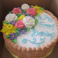 "Floral Birthday 8"" Vanilla with Vanilla Buttercream"