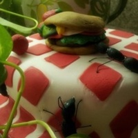 Picnic Hamburger Ants Fondant hamburger, and strawberries feasted for checkered blanket covered cake, perfect for the sunny day in the park.