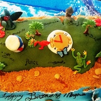 Puerto Rico Puerto Rico cake covered with fondant, rice crispy bottom with buttercream center, brown sugar sand and gum paste molds