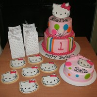 Bella's Hello Kitty   buttercream hello kitty cake, cookies, smash cake
