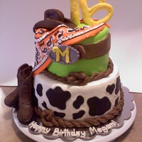 Cowgirl Cake   western themed 16th bday buttercream cake