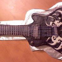 Brandon's Guitar   buttercream 3D guitar cake