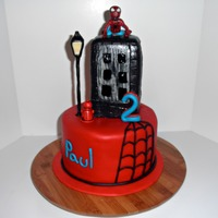 Spiderman Cake The mom gave me a photo of this cake she found on the internet. The top tier is white cake and the bottome tier is chocolate. The...