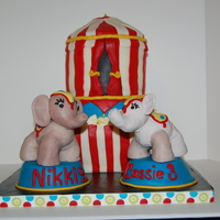 Circus Birthday White cake with vanilla buttercream. Everything is edible. Thank you to someoneon cake central , sorry I can't remember who, for the...