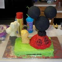 Mickey Mouse Club House I made the mickey mouse club house for my oldest 2nd bday. The head and ears are styrofoam balls. The base(red part) of the club house and...
