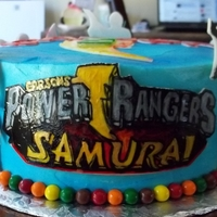 Power Ranger Birthday This customer's little boy is a huge fan of Power Rangers. The cake is frosted with real buttercream - I did a little spray on blue to...