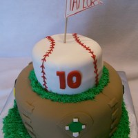 Baseball Cake For Child's birthday party. All decorations made with fondant