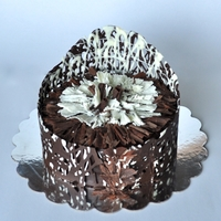 Wrapped Chocolate Cake Chocolate cake wrapped in white and dark chocolate, with white and dark chocolate shavings.