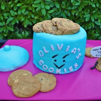 Cookie Jar Cake  Cookie Jar Cake for my daughter's 10th birthday. Cake is airbrushed with a blue sheen to give it a shiny ceramic look, but for some...