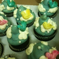 Birds In The Sky chocolate dipped cupcakes with birds on clouds
