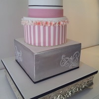 Silver & Dusty Pink Wedding Cake