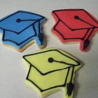 Hats Off mortar board sugar cookies with fondant and royal icing