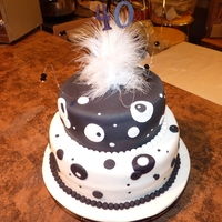 Black And White 40Th Birthday Cake Vanilla sponge cakes, the topper I also made with crystals and beautiful feathers and think it made a great addition to the cakes.